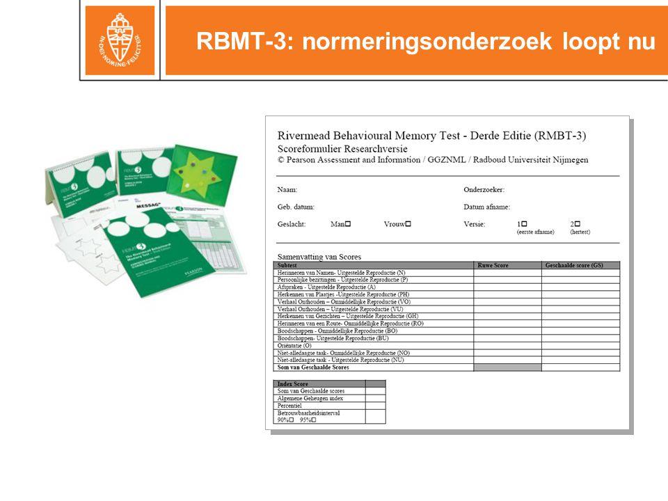 RBMT-3: normeringsonderzoek loopt nu