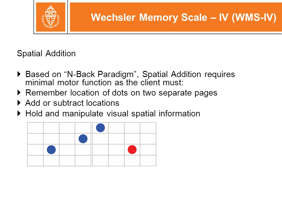 "Wechsler Memory Scale – IV (WMS-IV) Spatial Addition  Based on ""N-Back Paradigm"", Spatial Addition requires minimal motor function as the client must"
