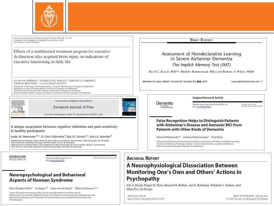 Object-locatiegeheugen Nunn, Graydon, Polkey, & Morris Brain 1999; 122: 47-59