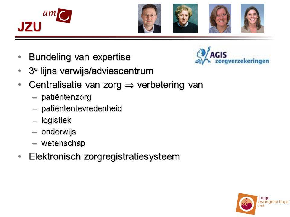 JZU Bundeling van expertiseBundeling van expertise 3 e lijns verwijs/adviescentrum3 e lijns verwijs/adviescentrum Centralisatie van zorg  verbetering