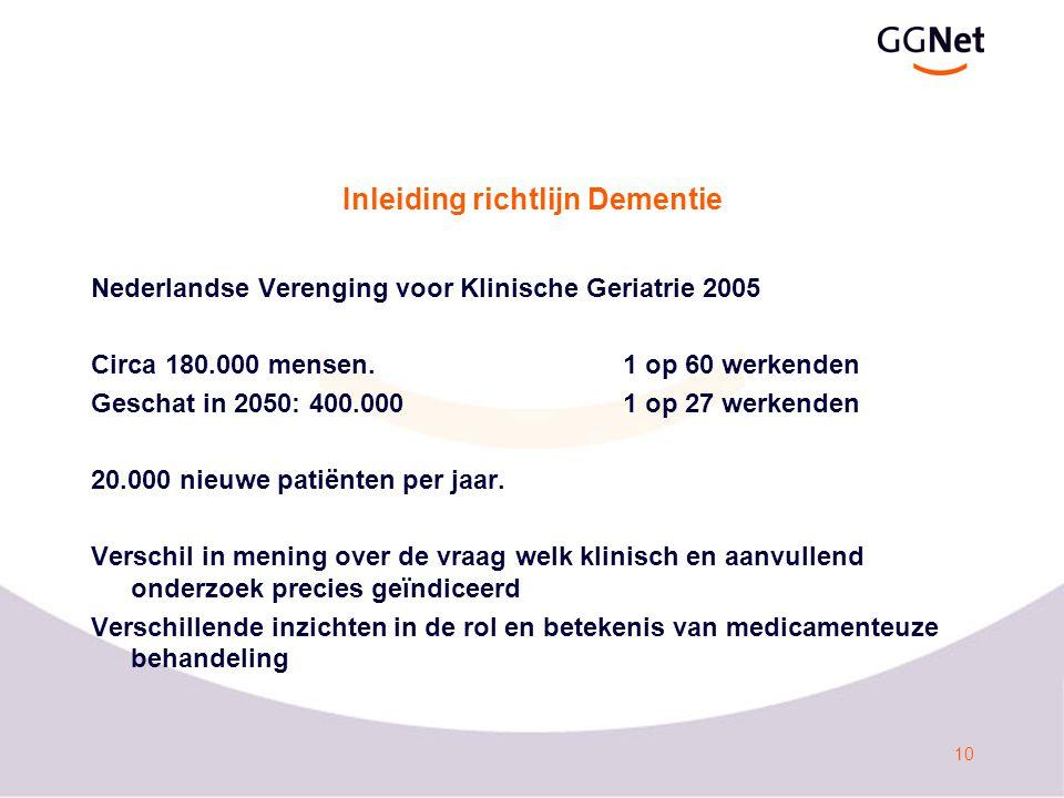 10 Inleiding richtlijn Dementie Nederlandse Verenging voor Klinische Geriatrie 2005 Circa 180.000 mensen.1 op 60 werkenden Geschat in 2050: 400.0001 op 27 werkenden 20.000 nieuwe patiënten per jaar.