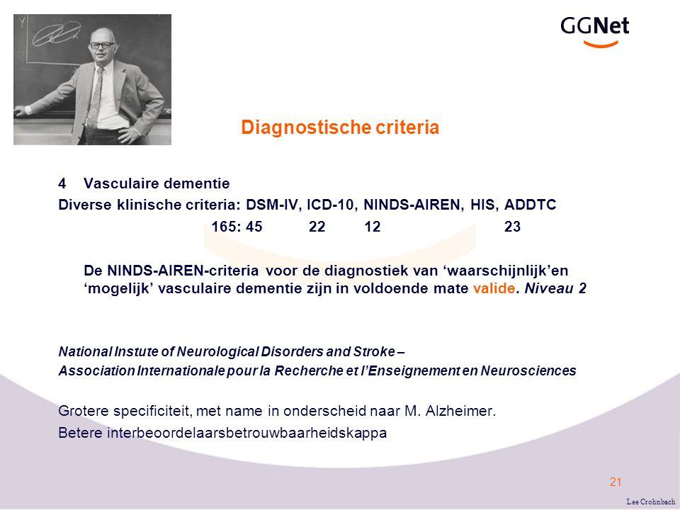 21 Diagnostische criteria 4Vasculaire dementie Diverse klinische criteria: DSM-IV, ICD-10, NINDS-AIREN, HIS, ADDTC 165: 45 22 12 23 De NINDS-AIREN-criteria voor de diagnostiek van 'waarschijnlijk'en 'mogelijk' vasculaire dementie zijn in voldoende mate valide.