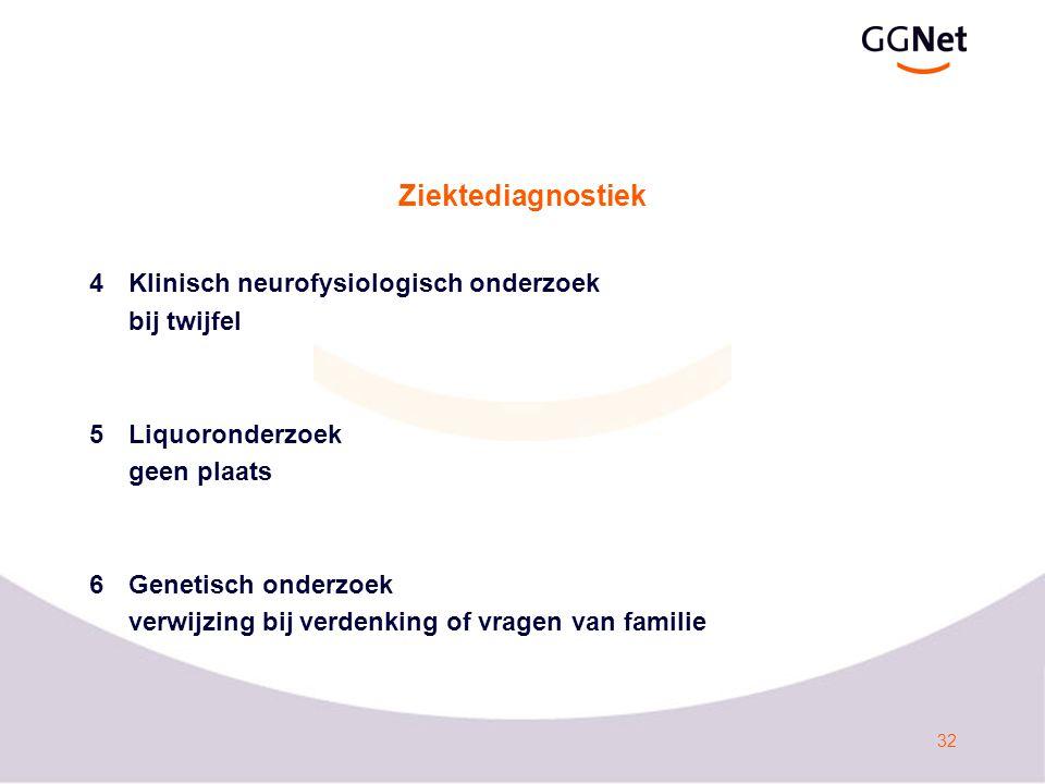 32 Ziektediagnostiek 4Klinisch neurofysiologisch onderzoek bij twijfel 5Liquoronderzoek geen plaats 6Genetisch onderzoek verwijzing bij verdenking of vragen van familie