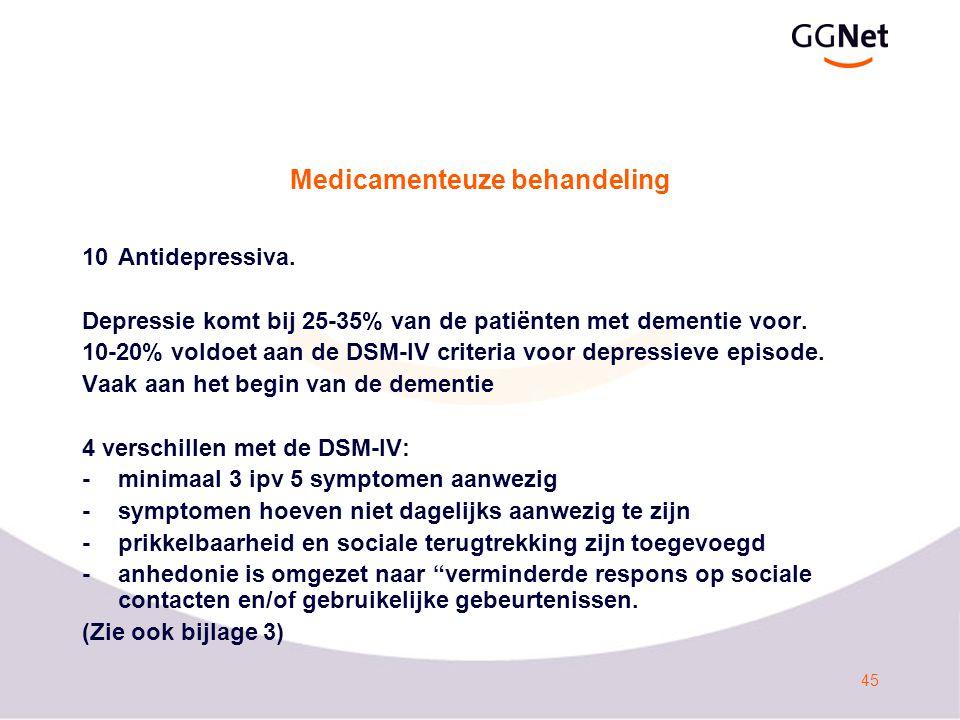 45 Medicamenteuze behandeling 10Antidepressiva.