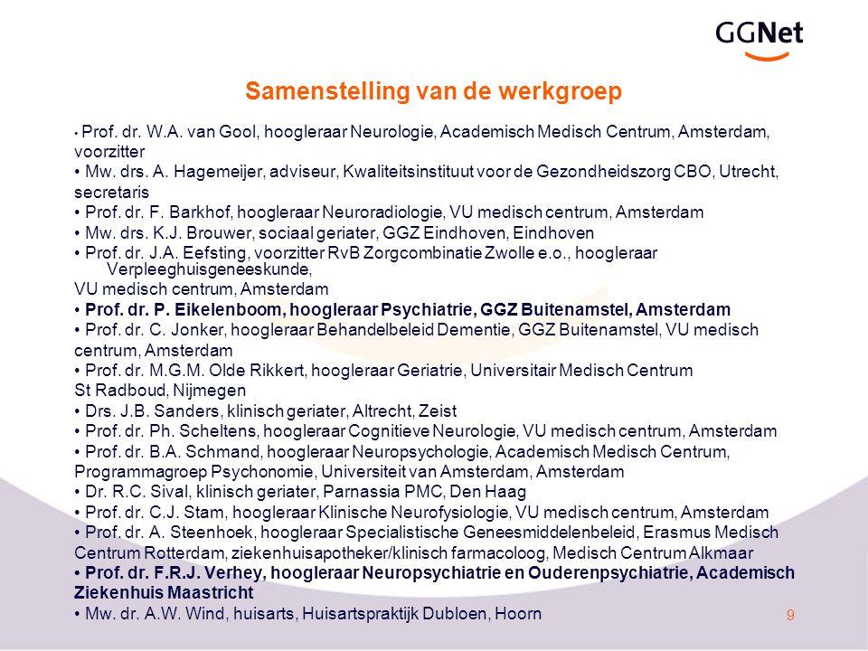 9 Samenstelling van de werkgroep Prof.dr. W.A.