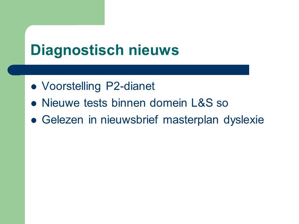 Diagnostisch nieuws Voorstelling P2-dianet Nieuwe tests binnen domein L&S so Gelezen in nieuwsbrief masterplan dyslexie