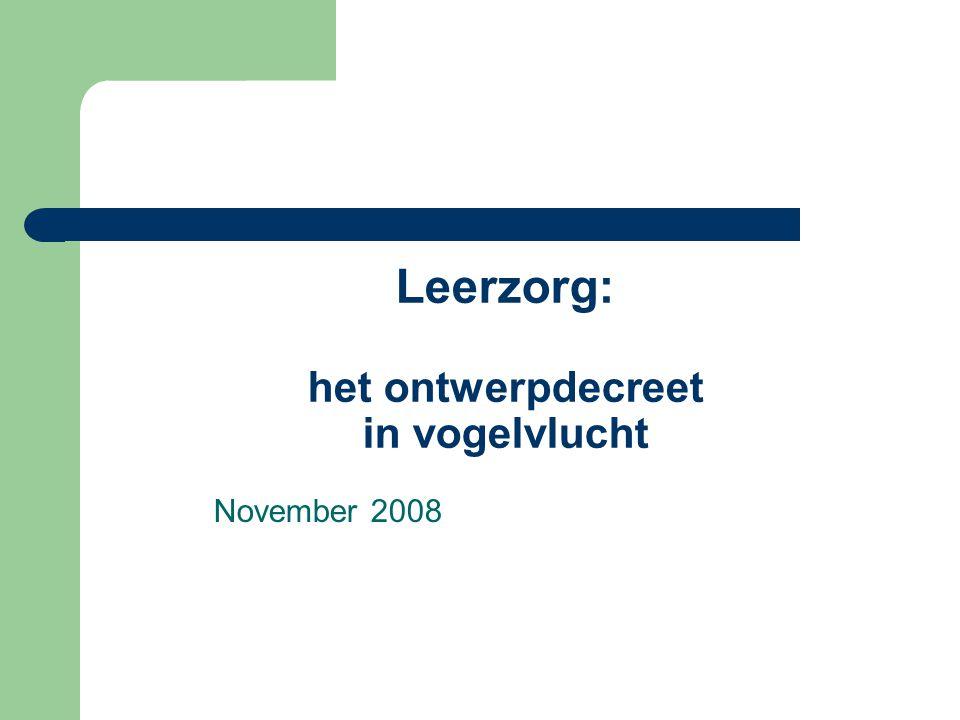 Leerzorg: het ontwerpdecreet in vogelvlucht November 2008