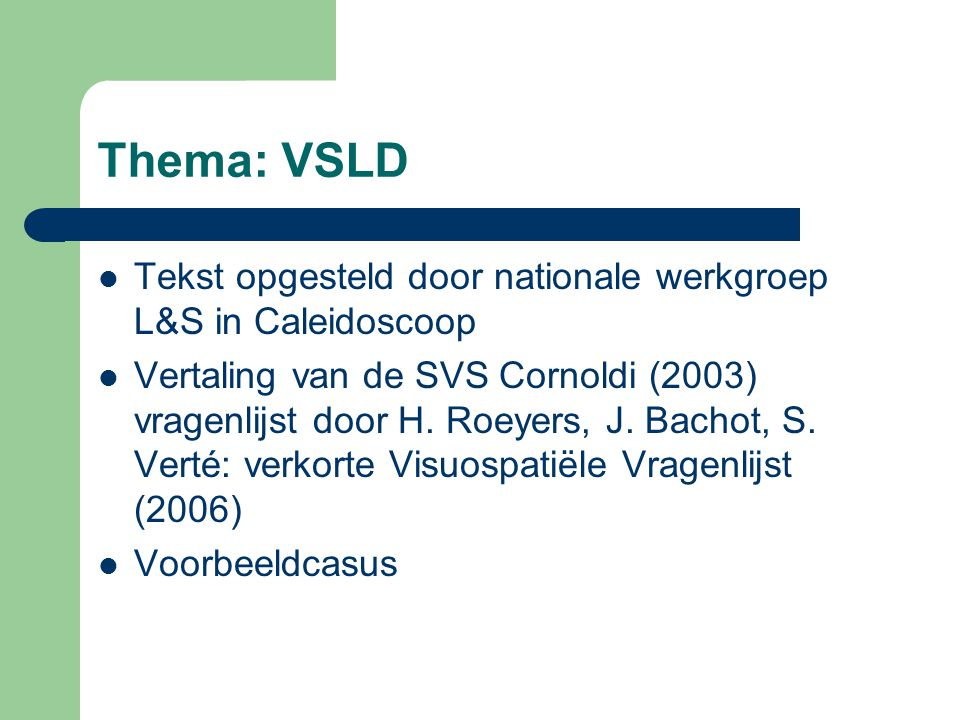 Thema: VSLD of NLD .