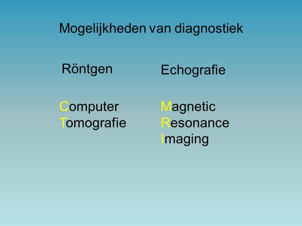 Röntgen Mogelijkheden van diagnostiek Computer Tomografie Magnetic Resonance Imaging Echografie