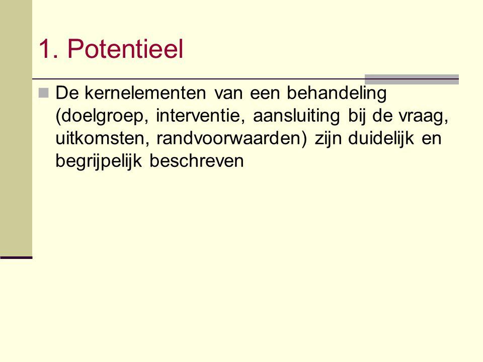 1. Potentieel De kernelementen van een behandeling (doelgroep, interventie, aansluiting bij de vraag, uitkomsten, randvoorwaarden) zijn duidelijk en b