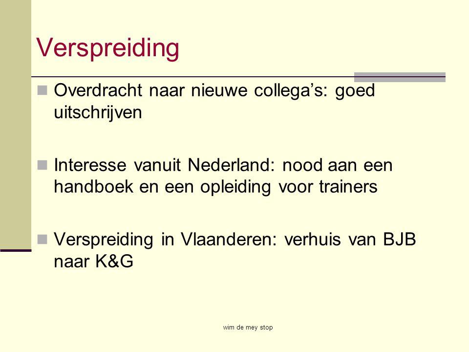 Verspreiding Overdracht naar nieuwe collega's: goed uitschrijven Interesse vanuit Nederland: nood aan een handboek en een opleiding voor trainers Vers