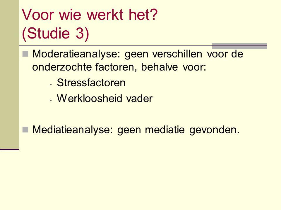 Voor wie werkt het? (Studie 3) Moderatieanalyse: geen verschillen voor de onderzochte factoren, behalve voor: - Stressfactoren - Werkloosheid vader Me