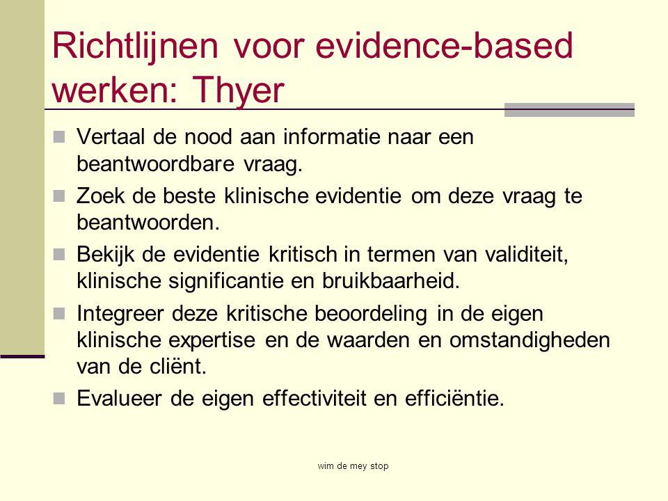 Richtlijnen voor evidence-based werken: Thyer Vertaal de nood aan informatie naar een beantwoordbare vraag. Zoek de beste klinische evidentie om deze