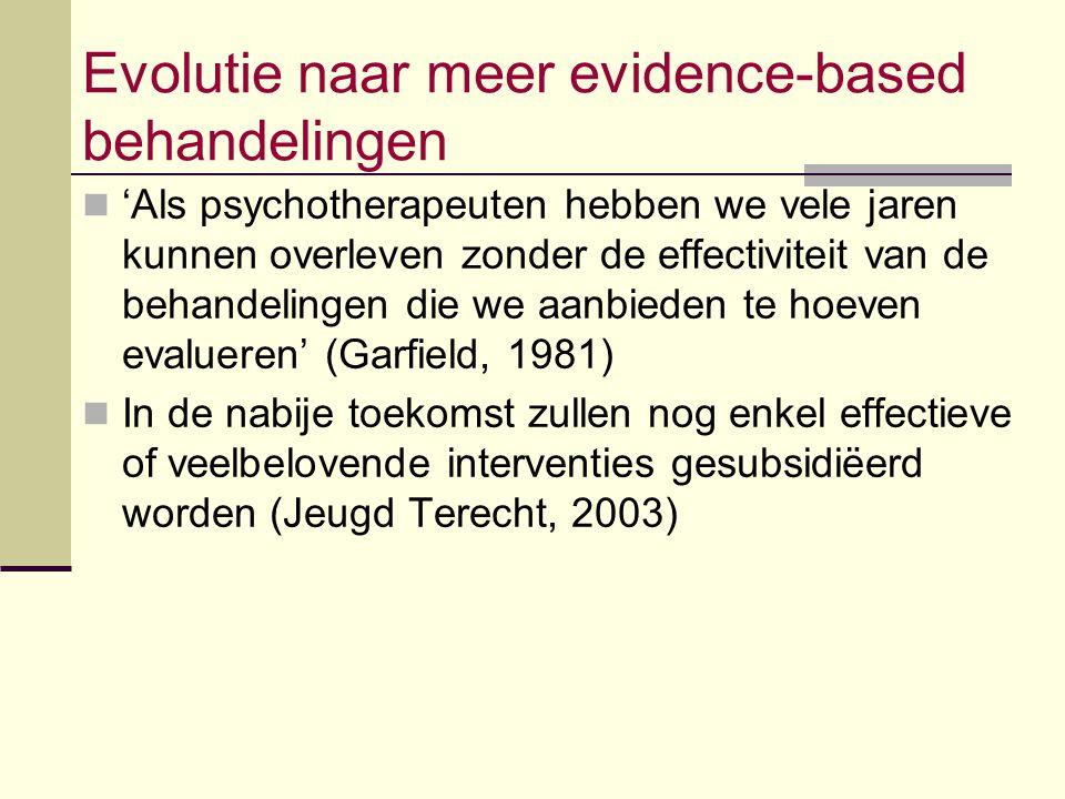 Evolutie naar meer evidence-based behandelingen 'Als psychotherapeuten hebben we vele jaren kunnen overleven zonder de effectiviteit van de behandelin