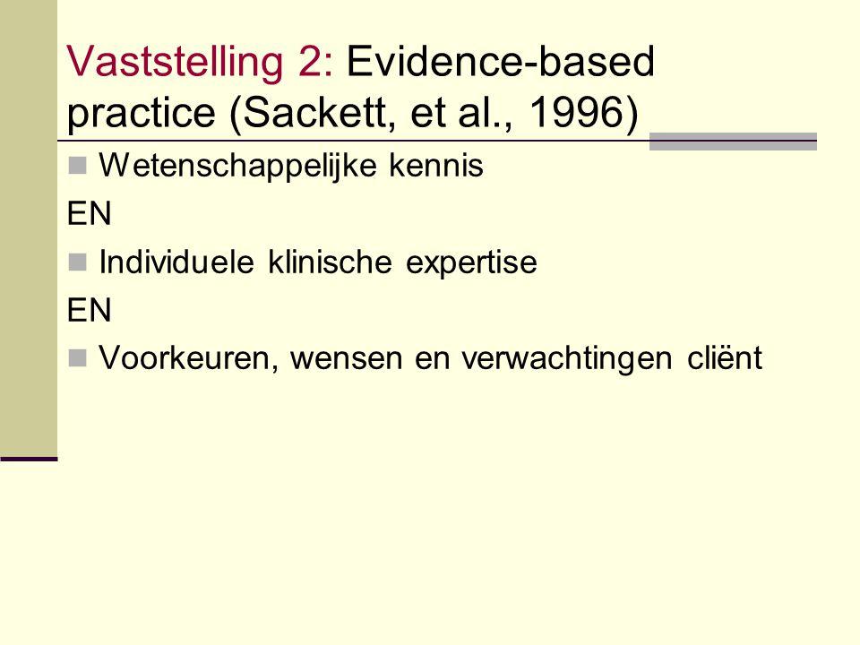 Vaststelling 2: Evidence-based practice (Sackett, et al., 1996) Wetenschappelijke kennis EN Individuele klinische expertise EN Voorkeuren, wensen en v