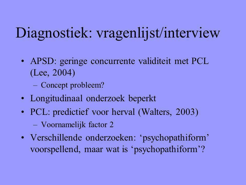 Diagnostiek: vragenlijst/interview APSD: geringe concurrente validiteit met PCL (Lee, 2004) –Concept probleem? Longitudinaal onderzoek beperkt PCL: pr