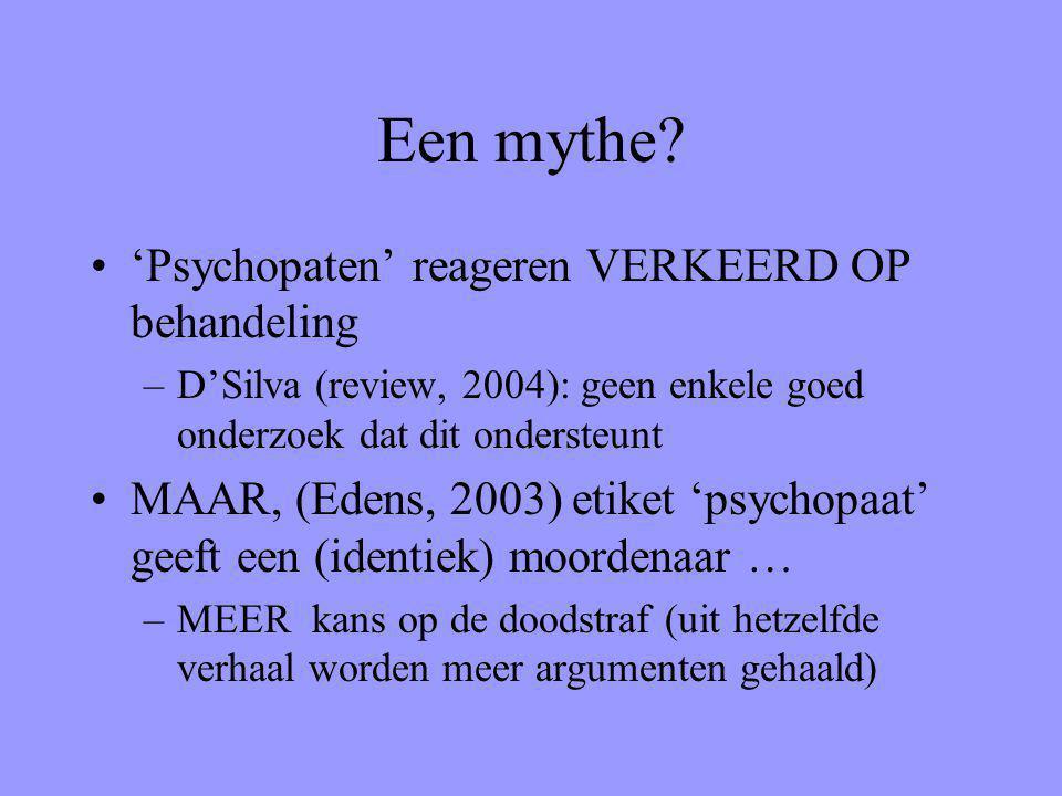 Een mythe? 'Psychopaten' reageren VERKEERD OP behandeling –D'Silva (review, 2004): geen enkele goed onderzoek dat dit ondersteunt MAAR, (Edens, 2003)