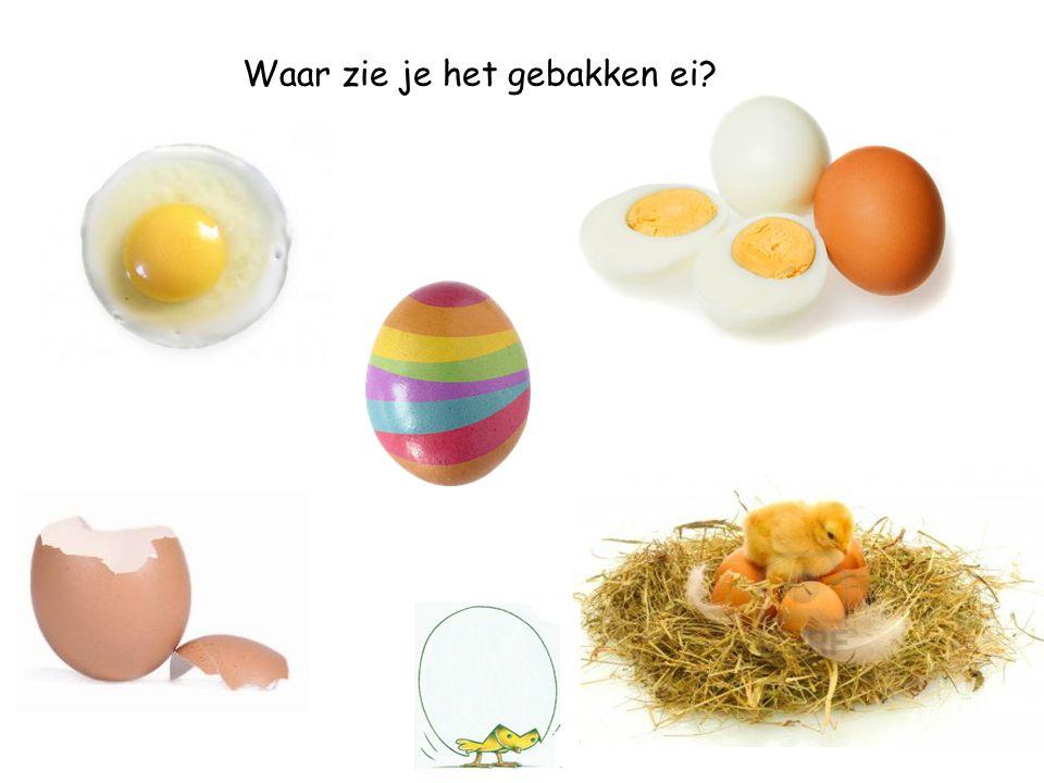 Waar zie je de eierschaal met de eierdop?