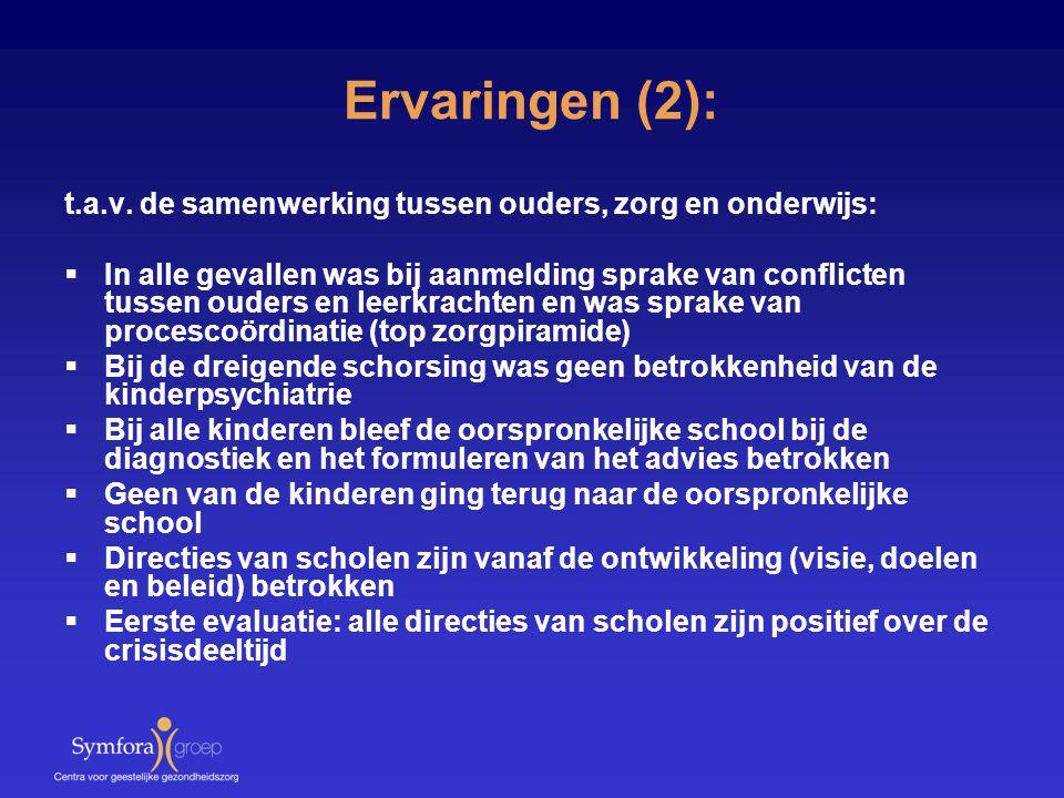 Ervaringen (2): t.a.v. de samenwerking tussen ouders, zorg en onderwijs:  In alle gevallen was bij aanmelding sprake van conflicten tussen ouders en