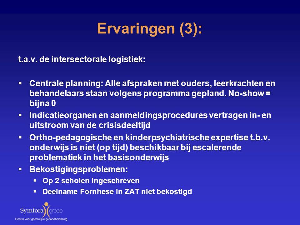 Ervaringen (3): t.a.v. de intersectorale logistiek:  Centrale planning: Alle afspraken met ouders, leerkrachten en behandelaars staan volgens program