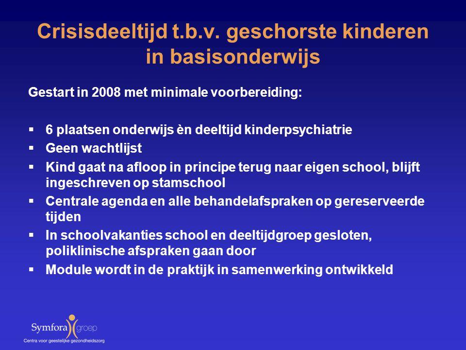 Crisisdeeltijd t.b.v. geschorste kinderen in basisonderwijs Gestart in 2008 met minimale voorbereiding:  6 plaatsen onderwijs èn deeltijd kinderpsych