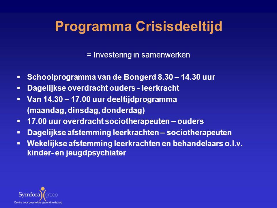 Programma Crisisdeeltijd = Investering in samenwerken  Schoolprogramma van de Bongerd 8.30 – 14.30 uur  Dagelijkse overdracht ouders - leerkracht 