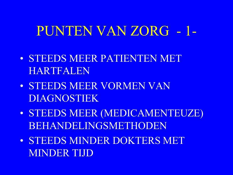 PUNTEN VAN ZORG - 1- STEEDS MEER PATIENTEN MET HARTFALEN STEEDS MEER VORMEN VAN DIAGNOSTIEK STEEDS MEER (MEDICAMENTEUZE) BEHANDELINGSMETHODEN STEEDS MINDER DOKTERS MET MINDER TIJD