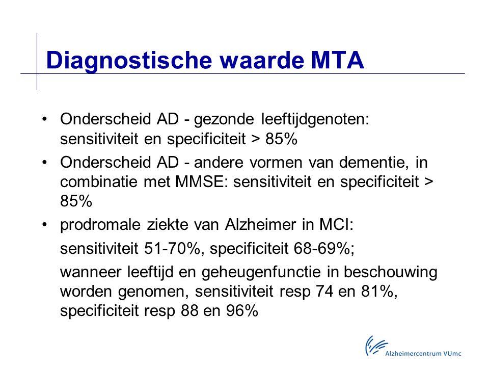 Diagnostische waarde MTA Onderscheid AD - gezonde leeftijdgenoten: sensitiviteit en specificiteit > 85% Onderscheid AD - andere vormen van dementie, in combinatie met MMSE: sensitiviteit en specificiteit > 85% prodromale ziekte van Alzheimer in MCI: sensitiviteit 51-70%, specificiteit 68-69%; wanneer leeftijd en geheugenfunctie in beschouwing worden genomen, sensitiviteit resp 74 en 81%, specificiteit resp 88 en 96%