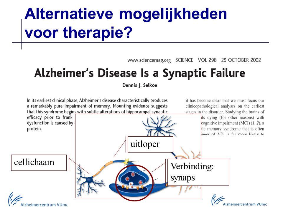 Alternatieve mogelijkheden voor therapie? cellichaam uitloper Verbinding: synaps