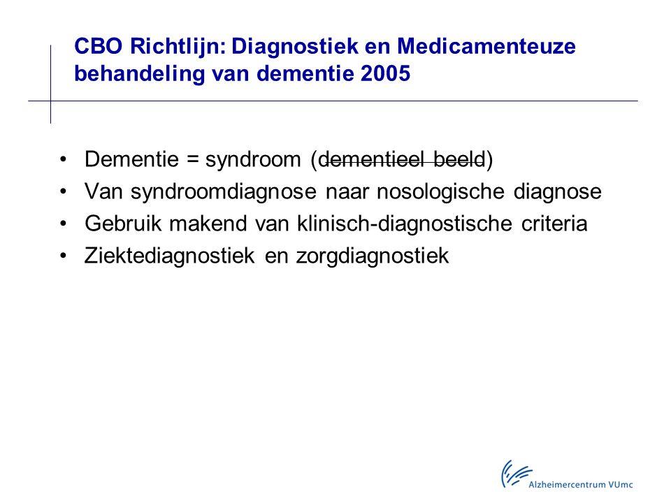 CBO Richtlijn: Diagnostiek en Medicamenteuze behandeling van dementie 2005 Dementie = syndroom (dementieel beeld) Van syndroomdiagnose naar nosologische diagnose Gebruik makend van klinisch-diagnostische criteria Ziektediagnostiek en zorgdiagnostiek