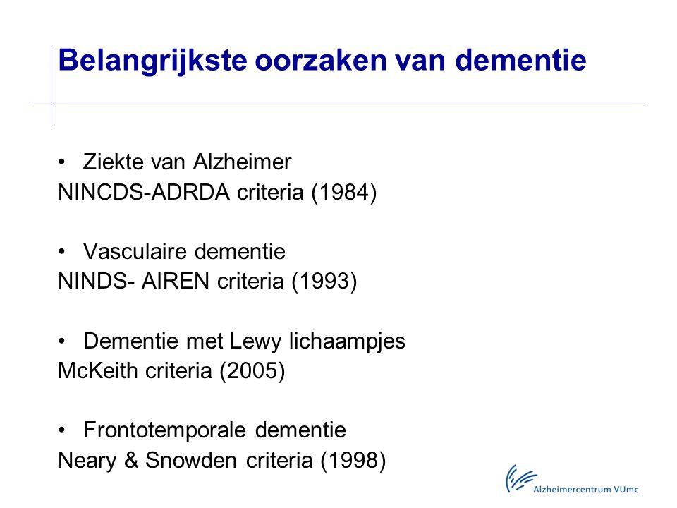 Belangrijkste oorzaken van dementie Ziekte van Alzheimer NINCDS-ADRDA criteria (1984) Vasculaire dementie NINDS- AIREN criteria (1993) Dementie met Lewy lichaampjes McKeith criteria (2005) Frontotemporale dementie Neary & Snowden criteria (1998)