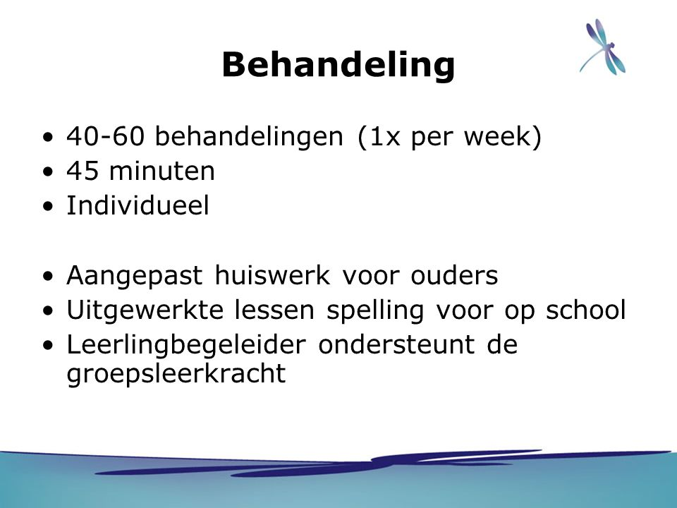 Behandeling 40-60 behandelingen (1x per week) 45 minuten Individueel Aangepast huiswerk voor ouders Uitgewerkte lessen spelling voor op school Leerlin