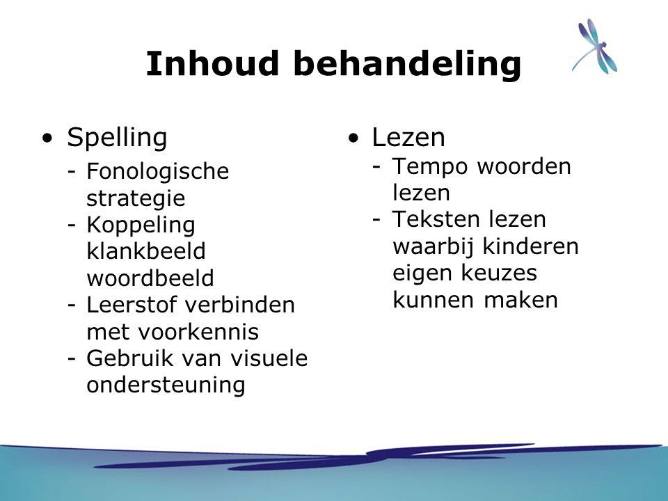 Inhoud behandeling Spelling -Fonologische strategie -Koppeling klankbeeld woordbeeld -Leerstof verbinden met voorkennis -Gebruik van visuele ondersteu