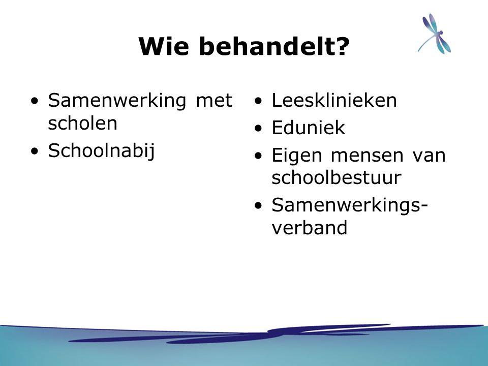 Wie behandelt? Samenwerking met scholen Schoolnabij Leesklinieken Eduniek Eigen mensen van schoolbestuur Samenwerkings- verband