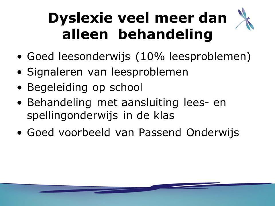 Dyslexie veel meer dan alleen behandeling Goed leesonderwijs (10% leesproblemen) Signaleren van leesproblemen Begeleiding op school Behandeling met aa