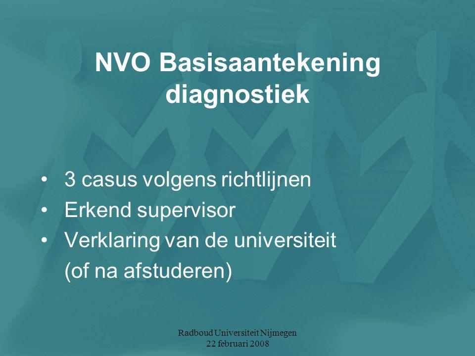 Radboud Universiteit Nijmegen 22 februari 2008 NVO Basisaantekening diagnostiek 3 casus volgens richtlijnen Erkend supervisor Verklaring van de univer