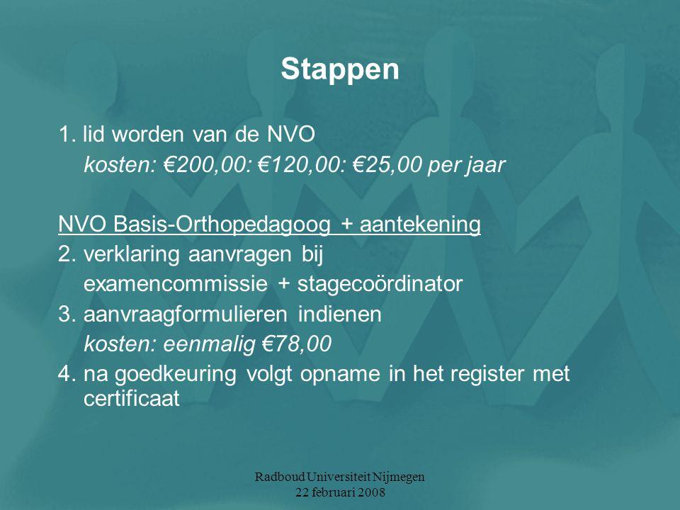 Radboud Universiteit Nijmegen 22 februari 2008 Stappen 1. lid worden van de NVO kosten: €200,00: €120,00: €25,00 per jaar NVO Basis-Orthopedagoog + aa