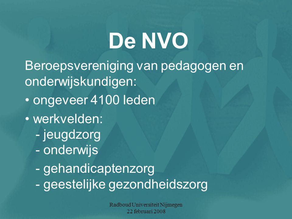 Radboud Universiteit Nijmegen 22 februari 2008 De NVO Beroepsvereniging van pedagogen en onderwijskundigen: ongeveer 4100 leden werkvelden: - jeugdzor