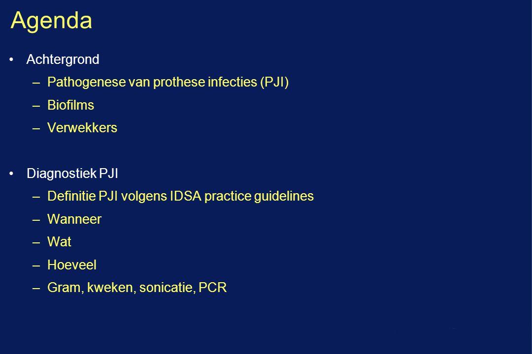 Agenda Achtergrond –Pathogenese van prothese infecties (PJI) –Biofilms –Verwekkers Diagnostiek PJI –Definitie PJI volgens IDSA practice guidelines –Wa
