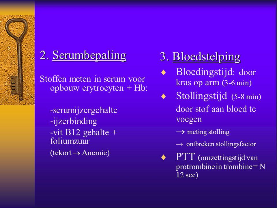 2. Serumbepaling Stoffen meten in serum voor opbouw erytrocyten + Hb: -serumijzergehalte -ijzerbinding -vit B12 gehalte + foliumzuur (tekort  Anemie)