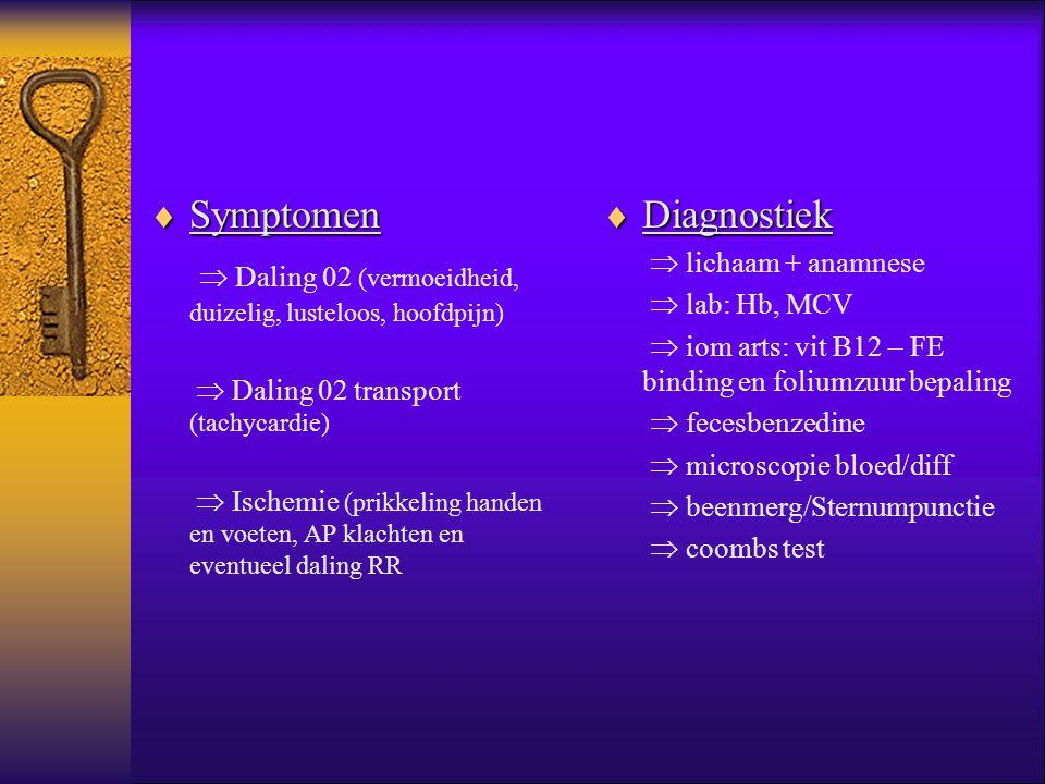  Symptomen  Daling 02 (vermoeidheid, duizelig, lusteloos, hoofdpijn)  Daling 02 transport (tachycardie)  Ischemie (prikkeling handen en voeten, AP