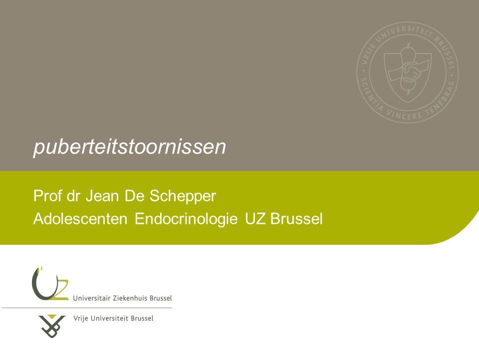 puberteitstoornissen Prof dr Jean De Schepper Adolescenten Endocrinologie UZ Brussel