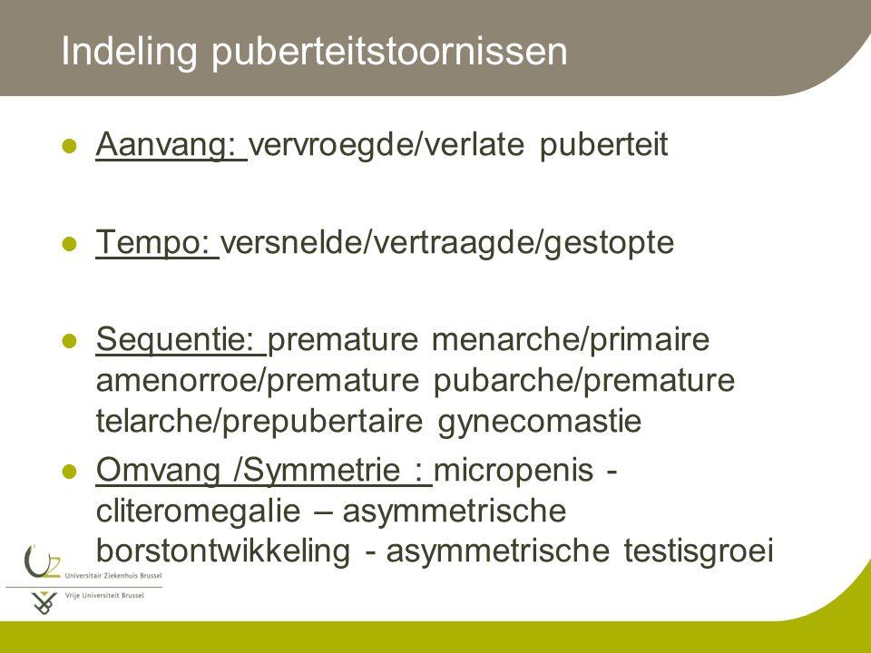 Indeling puberteitstoornissen Aanvang: vervroegde/verlate puberteit Tempo: versnelde/vertraagde/gestopte Sequentie: premature menarche/primaire amenor