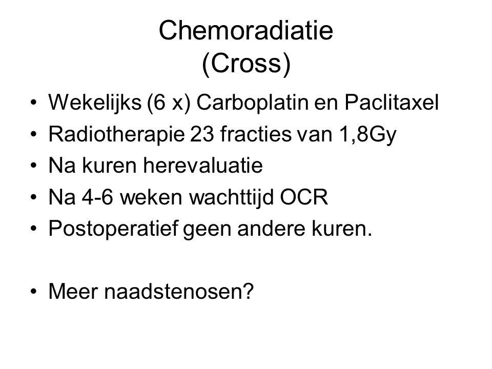 Chemoradiatie (Cross) Wekelijks (6 x) Carboplatin en Paclitaxel Radiotherapie 23 fracties van 1,8Gy Na kuren herevaluatie Na 4-6 weken wachttijd OCR P