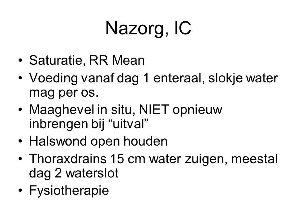 """Nazorg, IC Saturatie, RR Mean Voeding vanaf dag 1 enteraal, slokje water mag per os. Maaghevel in situ, NIET opnieuw inbrengen bij """"uitval"""" Halswond o"""