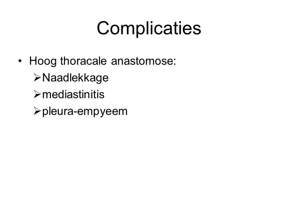 Complicaties Hoog thoracale anastomose:  Naadlekkage  mediastinitis  pleura-empyeem