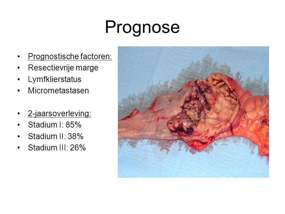Prognose Prognostische factoren: Resectievrije marge Lymfklierstatus Micrometastasen 2-jaarsoverleving: Stadium I: 85% Stadium II: 38% Stadium III: 26