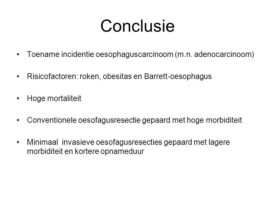 Toename incidentie oesophaguscarcinoom (m.n. adenocarcinoom) Risicofactoren: roken, obesitas en Barrett-oesophagus Hoge mortaliteit Conventionele oeso