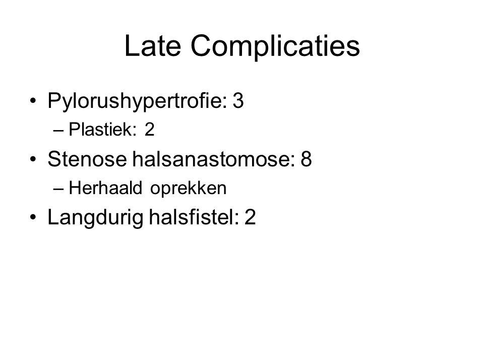 Late Complicaties Pylorushypertrofie: 3 –Plastiek: 2 Stenose halsanastomose: 8 –Herhaald oprekken Langdurig halsfistel: 2