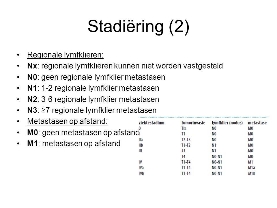 Stadiëring (2) Regionale lymfklieren: Nx: regionale lymfklieren kunnen niet worden vastgesteld N0: geen regionale lymfklier metastasen N1: 1-2 regiona